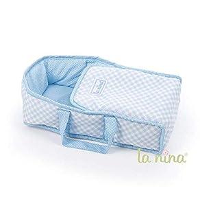 La Nina- Capazo Paula para muñecas, Color Azul, 40 x 20 x 11 cm (61584)