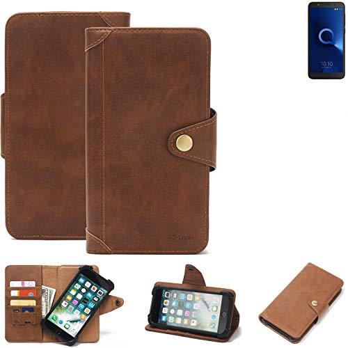 K-S-Trade® Handy Hülle Für Alcatel 1C Single SIM Schutzhülle Walletcase Bookstyle Tasche Handyhülle Schutz Case Handytasche Wallet Flipcase Cover PU Braun (1x)
