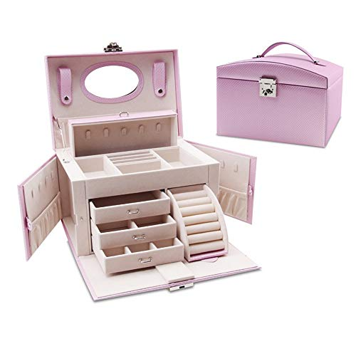 Schmuck Aufbewahrungsbox Weibliche Schlafzimmer mehrschichtigen Verschluss Schmuck Aufbewahrungsbox Kosmetik Aufbewahrungstasche Armband Ohrringe und Ring Sarg Box Aufbewahrungsbox Schmuck Vitrine