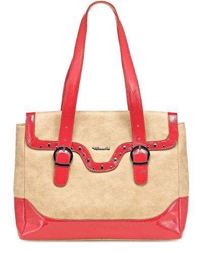 TAMARIS Handtasche MARTA, Schultertasche, Überschlaglasche, Lack-Applikationen, 3 Farben: antelope-chili rot, schwarz-nude oder nude-weiss chili rot-antelope