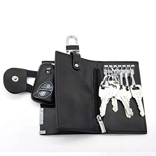 HANDSOME-Custodia portachiavi a 6 ganci di metallo, separate da un anello, 1 gancio e compartimento con chiusura lampo