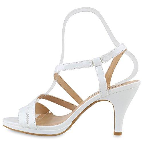 Damen Riemchensandaletten | Glitzer Sandaletten Metallic | Stilettos High Heels | Sommer Party Schuhe | Abiball Hochzeit Brautschuhe Weiss Brooklyn