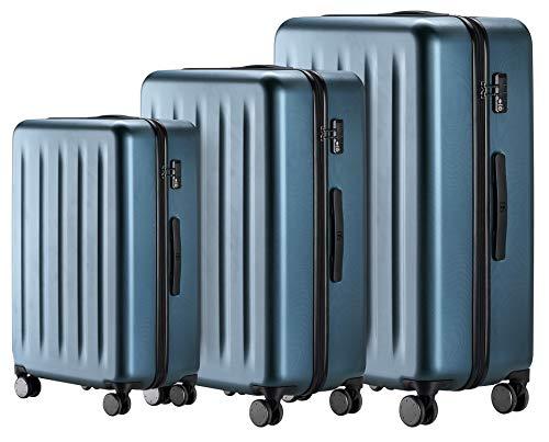 90FUN 3-teiliges Kofferset I leichte Hartschalen Trolleys mit TSA Zahlenschloss und 4 Rollen I Größen S/M/L, Blau
