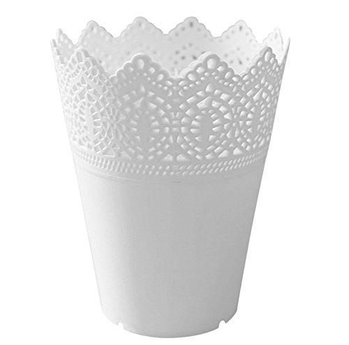 Kanggest 1 StückMode Blumentöpfe Einfarb Plastik Metall Schneiden Pflanze Vase Make-up Bürstenhalter Organizer Aufbewahrungskorb (Weiß)