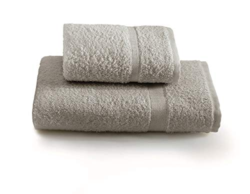 Gabel set asciugamano con ospite, tinta unita, 100% cotone, grigio