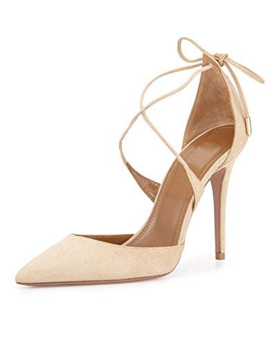EDEFS - Escarpins Femme - Lacets Chaussures - Sexy Talon Aiguille - Bout Pointu Fermé - Club Soiree Mariage Pumps Camel
