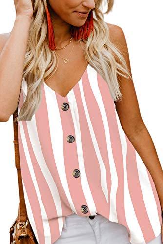 Aranmei Damen Sexy Tank Top Sommer Bluse V-Ausschnitt Ärmellose Shirt Elegant Weste Hemdbluse Loose fit T Shirt mit Trägern (Wasser rot gestreift, Large) - Sexy Tops Blusen