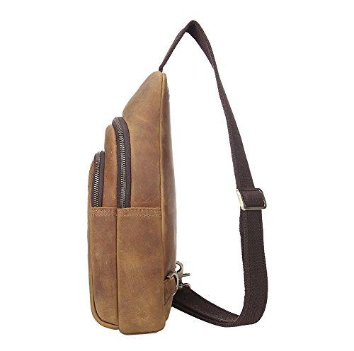Genda 2Archer Single Schultertasche Brust Rucksack für Reisen Wandern Camping (Dunkel Khaki) Dunkel Khaki