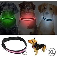 Jdon-pet, Ajustable 3-Mode LED parpadeante Collar de perro, tamaño: