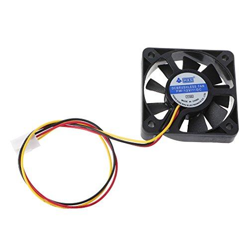 JENOR 5010 Mini ventilador de refrigeración de 9 aspas, 50 x 50 x 10 mm, 12 V CC, 3 pines, sin escobillas...