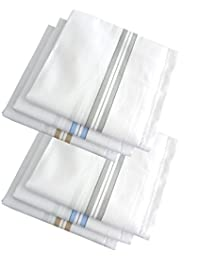 S4S Men's 100% Cotton Premium Collection Handkerchiefs - Pack of 6 (White Striped_46X46 CM)