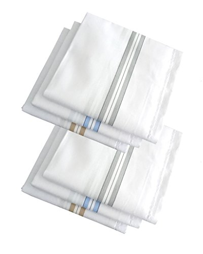 S4S Men\'s 100% Cotton Premium Collection Handkerchiefs - Pack of 6 (White Striped_46X46 CM)