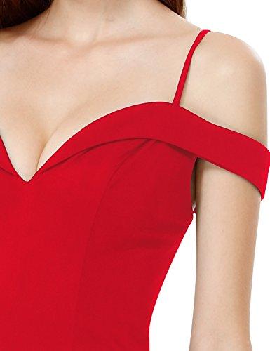 Ever Pretty Damen Sexy Weg Von Der Schulter Trägerkleid Abendkleider 07017 Rot