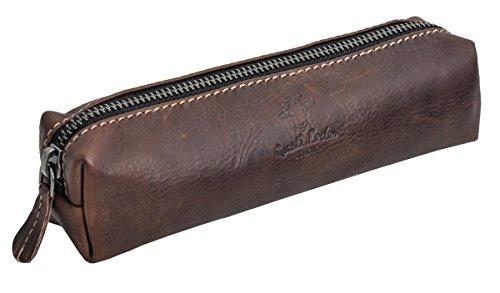 Gusti Leder studio ''Addison'' porta penne portacolori astuccio università ufficio vintage vera pelle di bufalo unisex marrone scuro 2S8-22-6