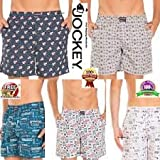 Jockey USA Originals Cotton Boxer Shorts for Men with SIDE POCKETS - Assorted Colours (Pack of 2) (Medium)