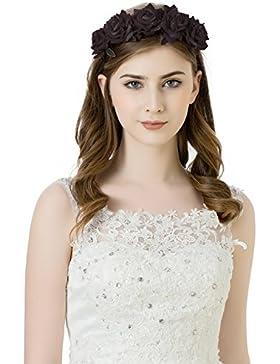 Las niñas Rosa Flores corona diadema–o de la novia Bridemaid diadema flores guirnalda cabeza, estilos de Bohemia...