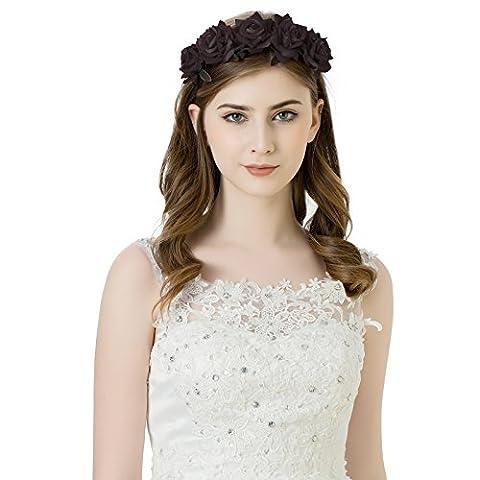AWAYTR Girl Bride Rose fleur couronne bandeau Hairband floral garland