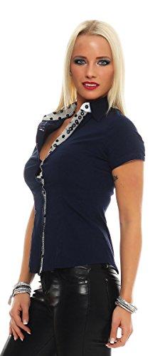 11032 Fashion4Young Damen Kurzarm Businessbluse Bluse Hemd Business Hemdbluse elastischem Stretch Dunkelblau