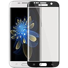 Samsung Galaxy S6 edge Plus Vidrio Templado Completo,ZXK CO Protector de Pantalla para Samsung Galaxy S6 edge Plus Resistente a Golpes y Rayado Anticaídas 9H Dureza 3D Pantalla Curva Senisible al Tacto Súper Claro Superior de Película Dureza Transparente-Negro