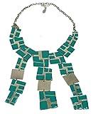 Kairo Geometrische Flake Statement Halskette in Gold Türkis –-SwankySwans