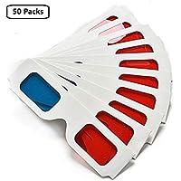 Gafas de Papel 3D, Anáglifo Rojo y Cian, Marco de Cartón Blanco, 50 Pares