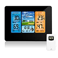 Wireless Weather Station Digital Color Forecast Weather Station Indoor Outdoor Thermometer with Alert and Temperature Humidity Barometer Alarm Moon Phase Weather Clock with Outdoor Sensor