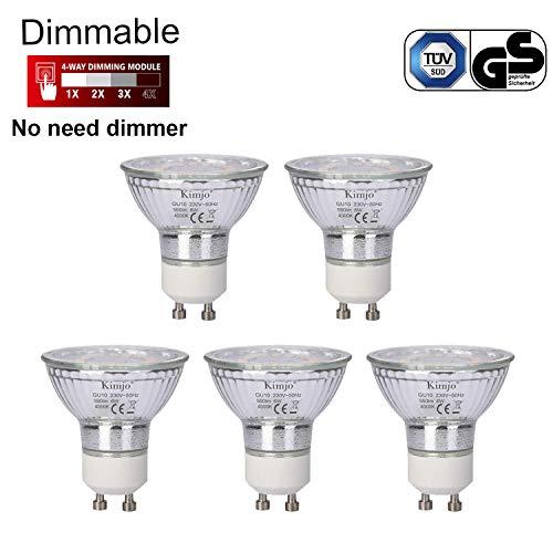 Ampoule GU10 LED Dimmable Kimjo 6W Blanc Neutre 4000K 550LM Équivalent 75W Ampoule Halogène, Spot GU10 LED Gradation Dimmable 120° Larges Faisceaux 82Ra 5 pack