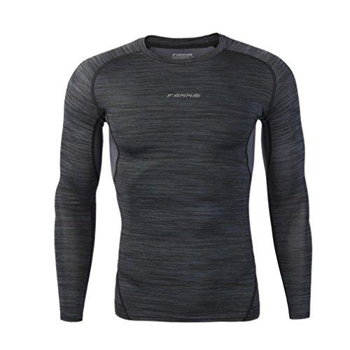 Herren Sportswear REFULGENCE 2017 Herren Fitness Sportswear Fitness Running Tops Strumpfhosen Stretch-Ärmel Quick-Dry Tops (Schwarz, M) (Hemd Weiche Stretch Knit)