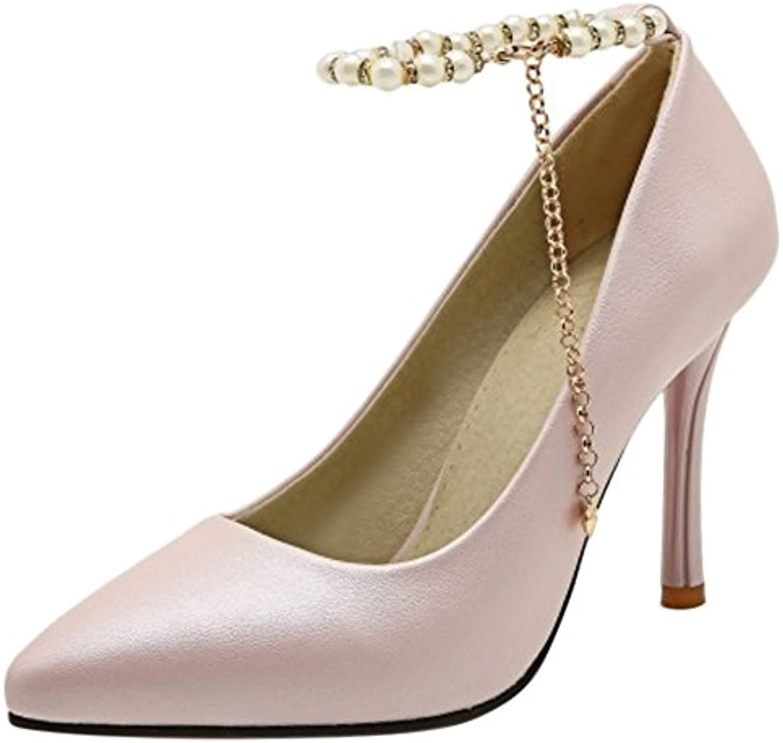 RAZAMAZA Mujer Moda Tacón Alto Zapatos Cadena -