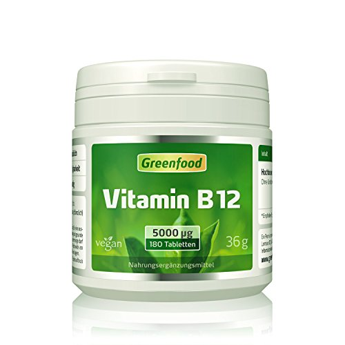 greenfood-vitamine-b12-methylcobalamine-5000-microgrammes-a-doses-elevees-180-comprimes-vegane-pour-