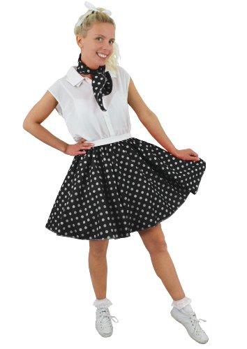 Jupe courte noire à pois blancs pour adulte avec son foulard assorti style année 50. Idéal pour les représentations de danse.