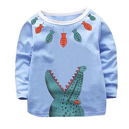 Rosennie Kleinkind Kind Jungen Mädchen Langarmshirt Slim Bluse Herbst Pulli Sweats Langarm T-Shirt Kinder Winter Hoodie Pullover Sweatshirt Baby Krokodil Druck Kleidung Sweatjacke (Blau,110) -