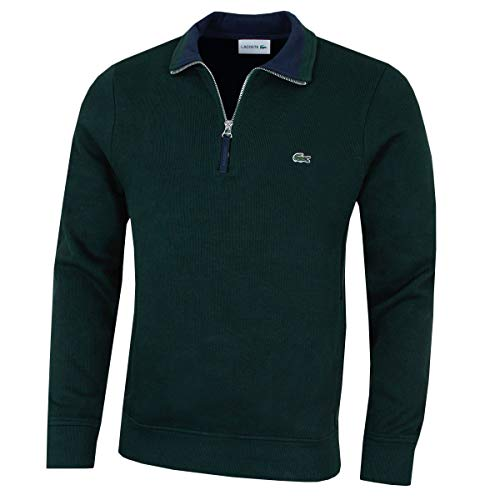 Lacoste Mens Half Zip Sweatshirt sh9252-00 Sinople/Navy Blue M Half Zip Sweatshirt