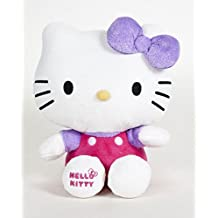 Hello Kitty - Peluche de Hello Kitty con un Lazo Lila cintas brillantes (Calidad Soft