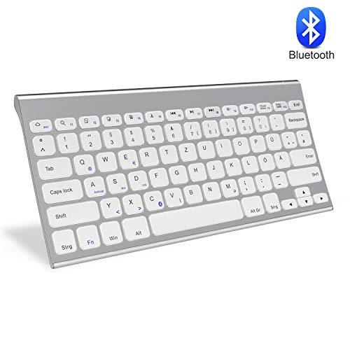 Jelly Comb Bluetooth Kabellose Tastatur für Laptop, PC und Tablets, Deutsches Layout QWERTZ, Weiß und Silber - Normale Bluetooth-tastatur