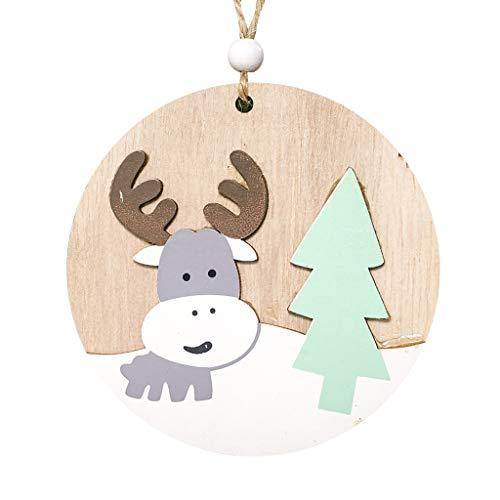 Heetey Weihnachten Frohe Runde hölzerne Weihnachtsanhänger-Weihnachtsbaumschmuck-Inneneinrichtung Weihnachtsverzierung malte hölzernen runden Anhänger des Weihnachtselches Weihnachtsbaum Deko -