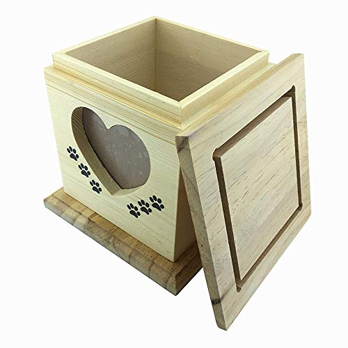 &liyanan Hecho a Mano Realmente de Madera de Madera Mascota Perro Gato urnas Foto Mascota Memorial urna ataúd para Cenizas Caja de tamaño pequeño, 15 * 15 cm