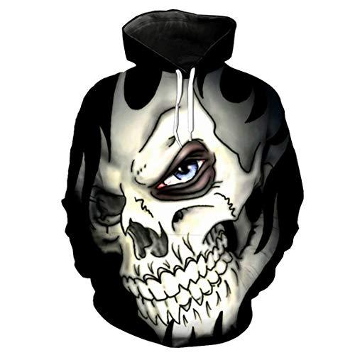 Toensishs Halloween-Art-weißer Schädel-Druck-mit Kapuze Sweatshirt der späteste kühle -