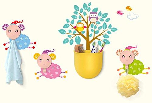 Lo+DeModa Sheep And Co Vinile Decorativo con 3 Appendiabiti e Recipiente, Pvc,, 17x13x0.18 cm
