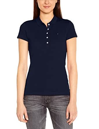 Tommy Hilfiger New Chiara - Polo - Uni - Manches courtes - Femme - Bleu (Core Navy) - FR: 34 (Taille fabricant: XS)