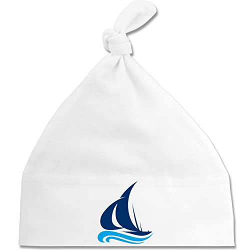 Shirtracer Fahrzeuge Baby - Segelboot - Unisize - Weiß - BZ15 - Baby Mütze mit einfachem Knoten als Geschenkidee
