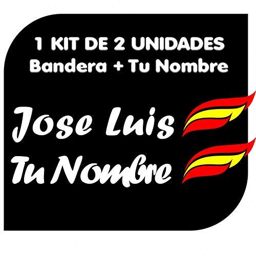 x2 Pegatinas Vinilo Bandera España + tu Nombre - Bici, Casco, Pala...