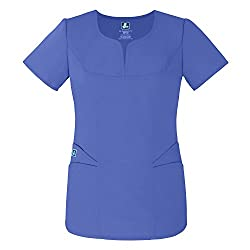 Adar Uniforms Medical Uniforms Women's Curved Pocket Glamour Scrub Top Hospital Workwear, Color Cbl | Size: Xl