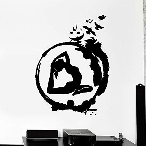Ajcwhml Yoga Vinyl wandaufkleber Yoga Zen wandaufkleber runde Meditation Kunst wandbilder Buddhismus Vogel Wand fensteraufkleber Dekoration