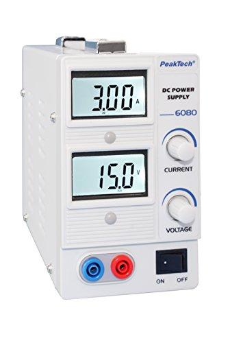 PeakTech Digital Labornetzteil - Labornetzgerät 0-15V / 0-3A DC stabilisiert, linear regelbar, ohne Lüfter, 1 Stück, P 6080