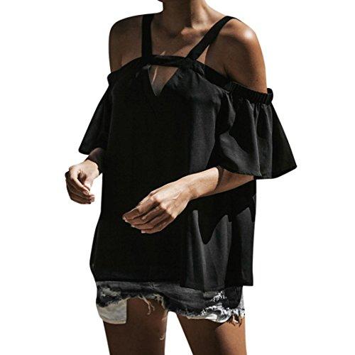 TUDUZ Damen Sommer Kurzarm Schulterfrei Tops T-Shirt V-Ausschnitt T-Shirt Bluse(L,Schwarz) (Rayon Velvet Rock)