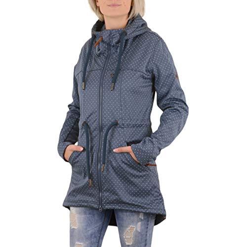 Alife and Kickin Damen Softshell Jacke Alma A blau Weiss gepunktet - L
