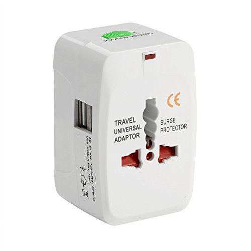 Tavakkal Universal Adapter Worldwide Travel Adapter with Built in Dual USB Charger Ports (White)
