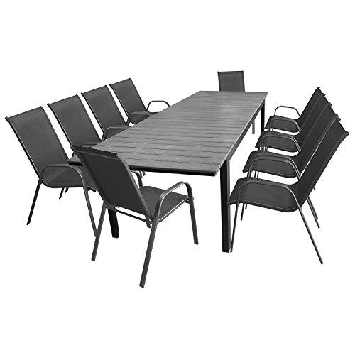 11tlg. Gartengarnitur Aluminium Polywood Ausziehtisch Gartentisch 280/220x95cm + 10x Stapelstuhl Textilenbespannung - Sitzgarnitur Sitzgruppe Gartenmöbel