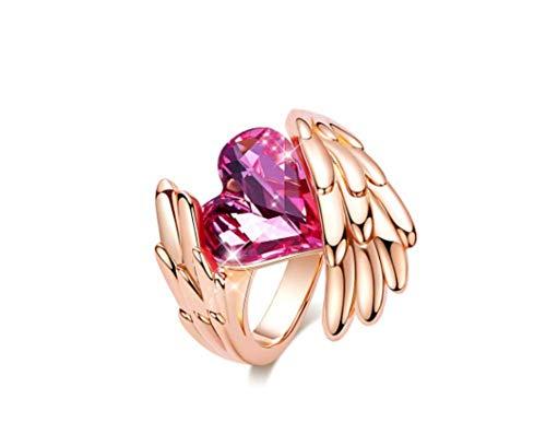 ings Ring Muttertagsgeschenk mit Swarovski Elements Crystal Green Kupfer Fashion Woman Crystal Ring,7 ()